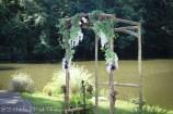 Rustic lakeside arbor