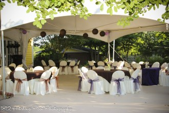 The tent with purple and chocolate decor