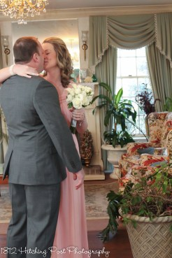 Just married kiss in the living room