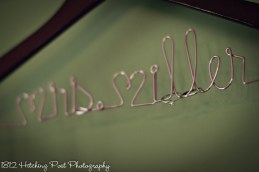 Bride's hanger with wedding rings