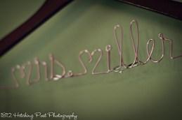 Bride's hanger with wedding rings