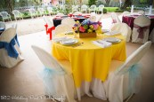 Bright yellow overlay with pool blue sashes