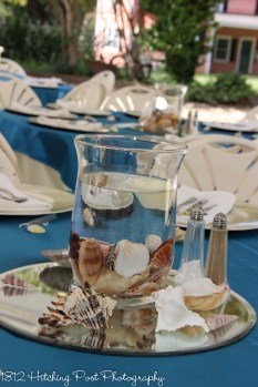 Beach theme with shells and candles on Ocean blue