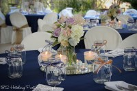 Navy with candles and live flowers