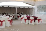 Burgundy overlays with cranberry sashes
