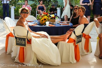 Orange sashes andnapkins with navy
