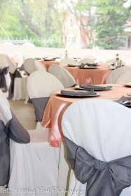 Coral overlays; gray sashes and napkins