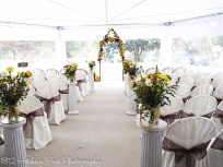 Columns used for tent wedding to hold mason jars