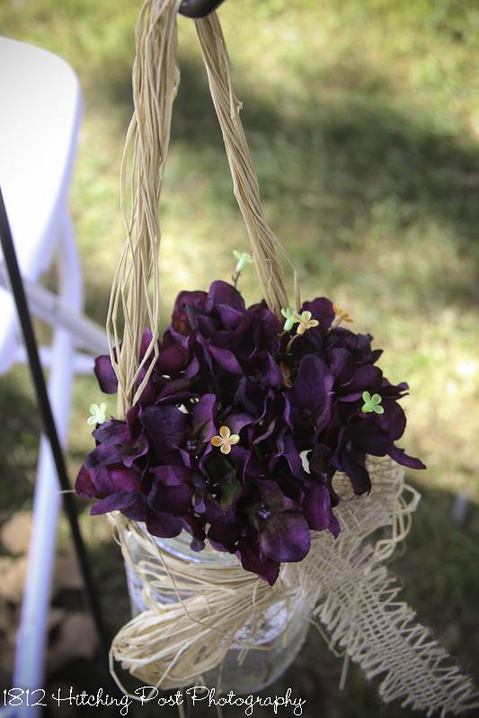 Plum silk flowers in mason jar with burlap trim plum silk flowers in mason jar mightylinksfo