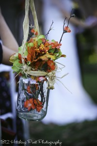 Silk fall flowers in mason jar
