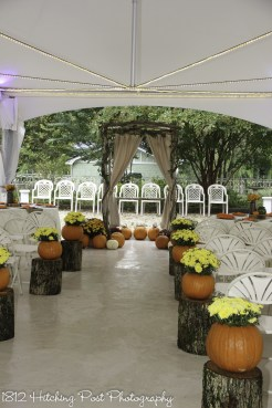 Under the tent for fall ceremony