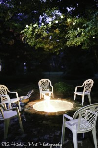 Fire pit after dark