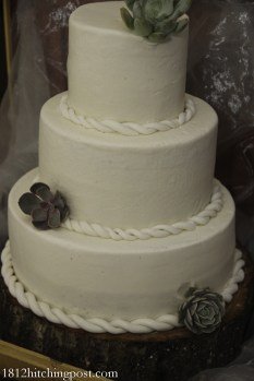 Rope braid and succulents on cake