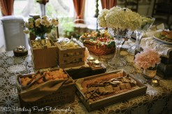 Cheese and crackers in rustic boxes