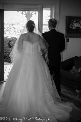 Bride and father out door