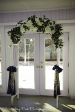 Navy and silver with white and greenery