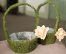 Moss baskets - rose can be taken off easily