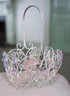 Metal basket with pastel flower trim