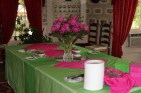 Pink and lime in the dining room