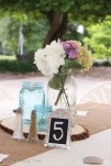 Mason jars with floating candle and flowers