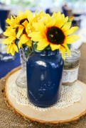 "Navy painted mason jar with ""Love"""