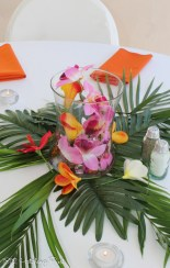 Tropical bright flowers in curved vase on palm leaves