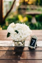 Hydrangea vases on the farmhouse tables