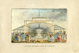 Centre Market from J.H.B. Latrobe's Picture of Baltimore (1832). Johns Hopkins University Sheridan Libraries, F 189.B1 P53 1842 QUARTO.