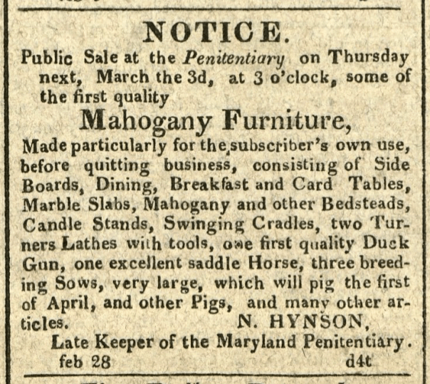 Advertisement: Notice. Public Sale at the Penitentiary