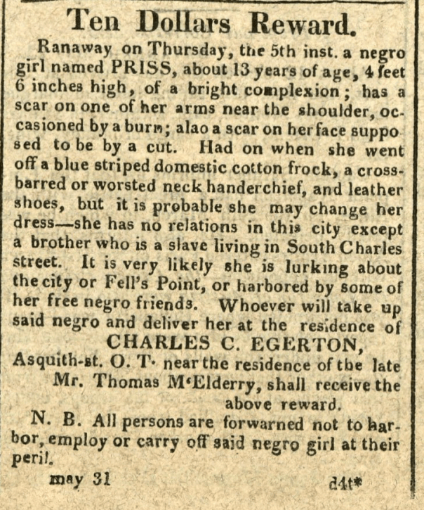 American Commercial and Daily Advertiser, May 31, 1814. Maryland State Archives SC3392