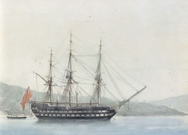 HMS Dragon off Endoume, Marseille, July 24, 1823, courtesy WIkimedia.