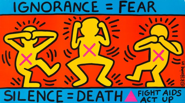 Keith Harring's iconic Ignorance =fear mural, showing three people covering their eyes, ears, and mouth, which Emma Blake tributes in her Street 66 mural