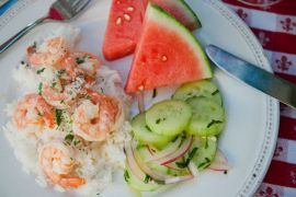 home-grown-chef-simple-summer-meal-shrimp-garlic-cucumber-salad-food-dinner-1859