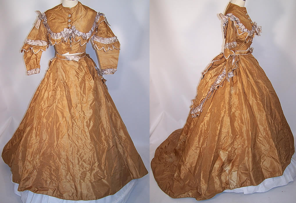 Victorian 1870 Gold Taupe Silk Taffeta Hoop Skirt Train