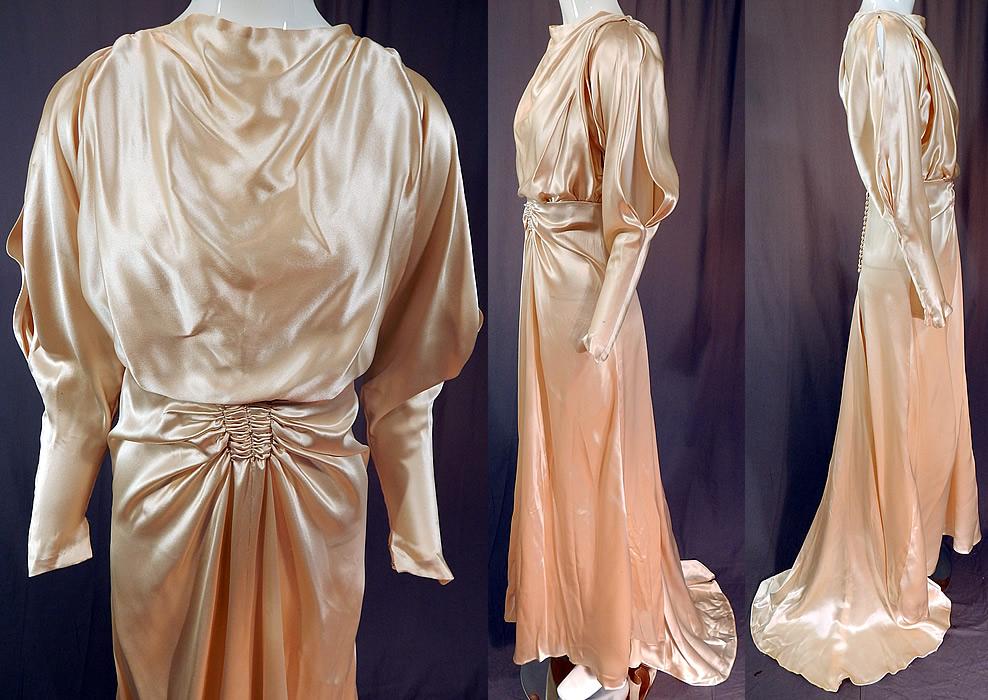Vintage Cream Silk Charmeuse Cutout Sleeve Bias Cut