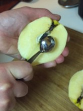 use a melon baller to scoop out the core