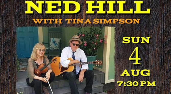 <b>Ned Hill with Tina Simpson and Greg McGarvey with Evan Scheerer</b><br>Sunday, August 4 — 7:30 PM