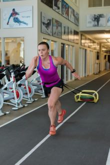 Breezy Johnson working out at the COE. Photo: U.S. Ski and Snowboard