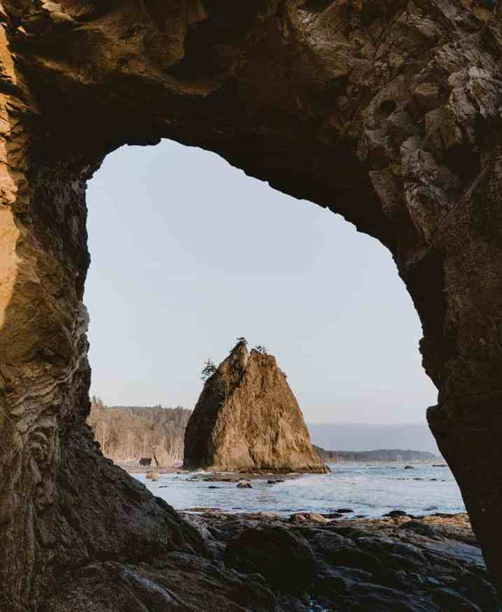 Hole-in-the-Wall is a short hike from Rialto Beach.