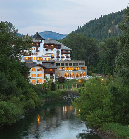 Posthotel sits on the Wenatchee River like a Bavarian castle.
