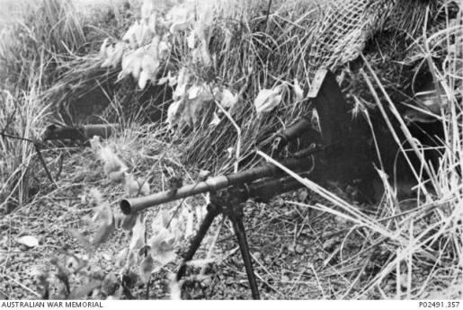 A camouflaged gun pit