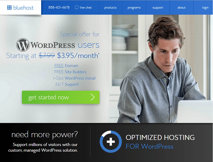 Bluhost start a blog wordpress