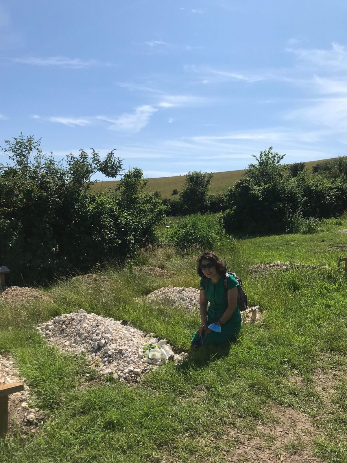 Emiko at Sybil's grave