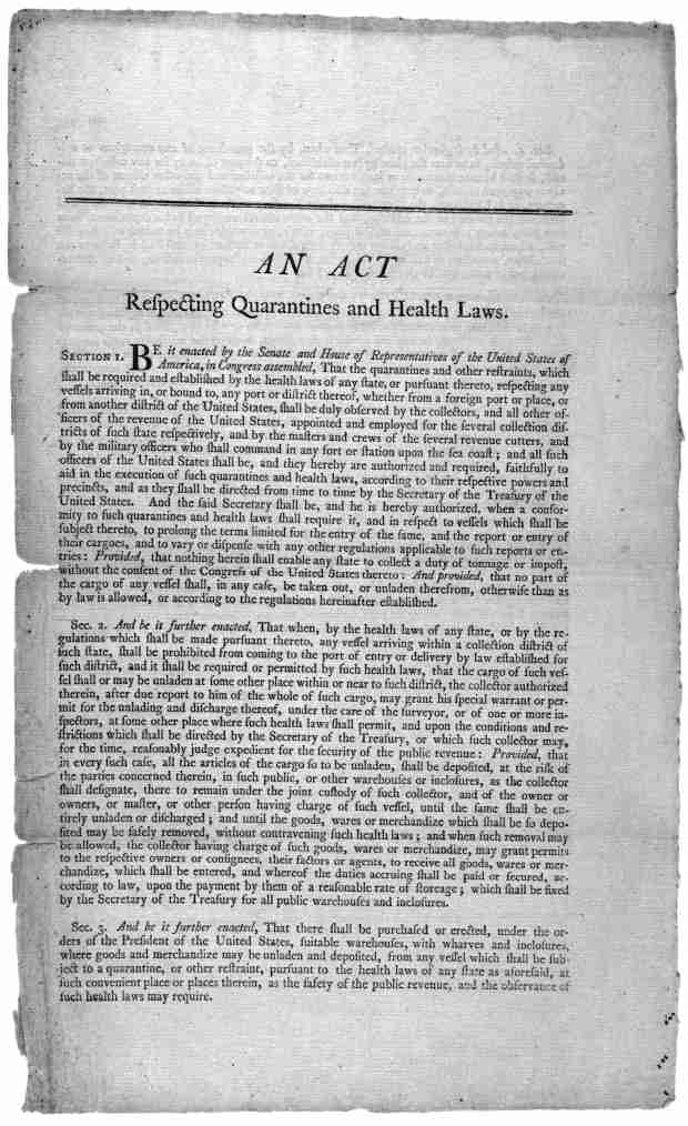 An act respecting quarantines and health laws ... Approved- February 25, 1799. John Adams, President of the United States.