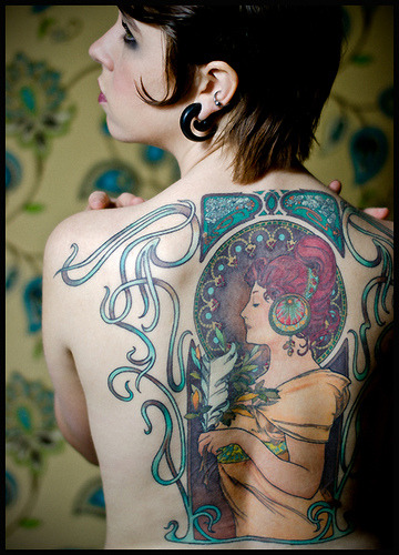 This Mucha inspired tattoo is by far the most beautiful tattoo I've ever