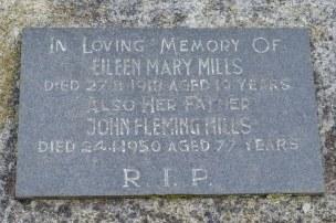Eileen Mills' grave - closer view of plaque
