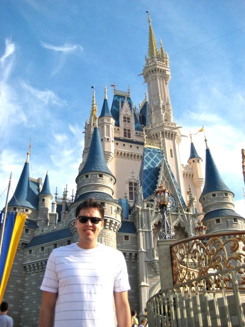 Louis in front of Cinderella Castle in 2012