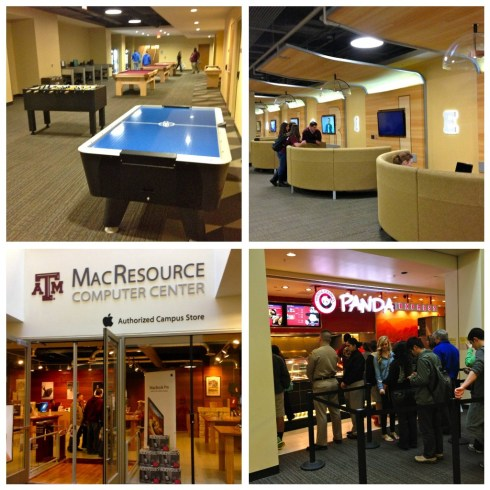 The MSC basement now boasts: A Mac store, air hockey, foosball tables, ping pong tables, a Panda Express, a FROYO station, and more! When I was there, we had a ghetto bowling alley, DDR, and a Chicfila. Times have changed.