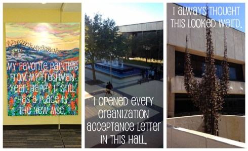 That painting on the left hung in a hall I always walked through as a freshman. It was refreshing to see it still hanging as I wandered around. The middle shot was taken from the bridge between the MSC and Rudder Tower. That bridge is where I went to open every acceptance letter from organizations I applied for. I had many heart-racing moments in that hall, tearing open envelopes that held my plans for the next year. That final shot is pretty self explanatory.