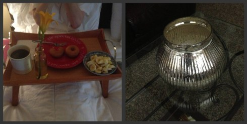 Breakfast in bed (all faces cropped out to protect the innocent..err, makeup-less faces) & my mom's mother's day gift!